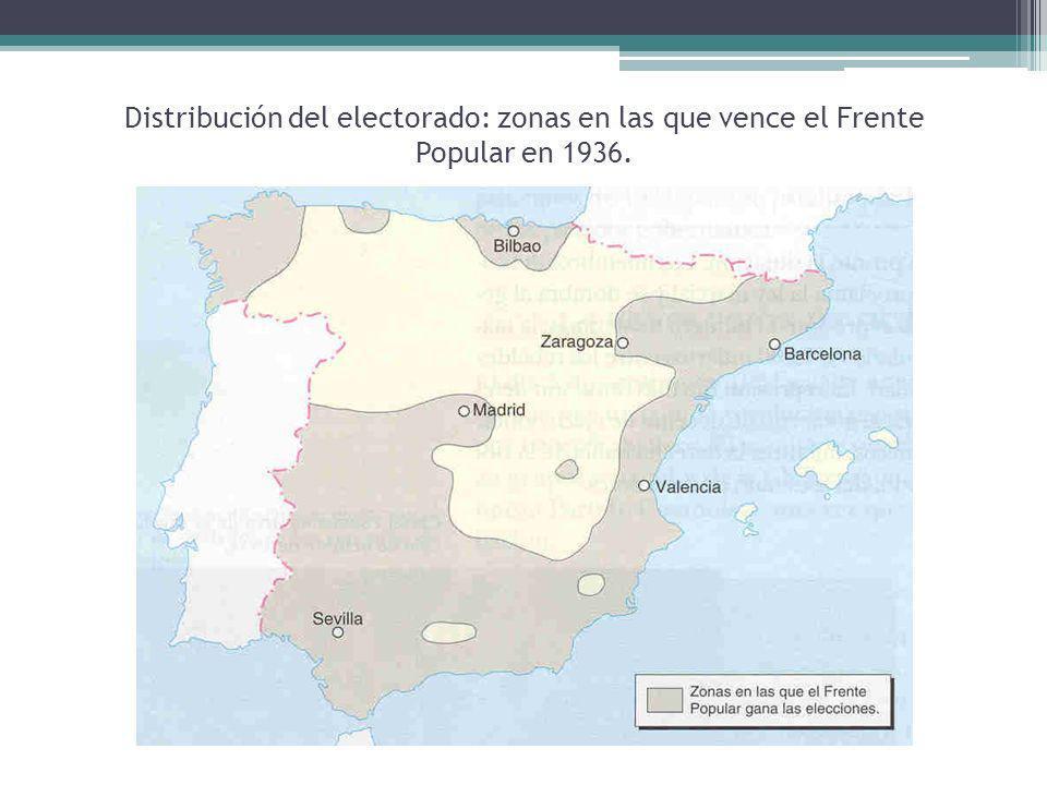 Distribución del electorado: zonas en las que vence el Frente Popular en 1936.