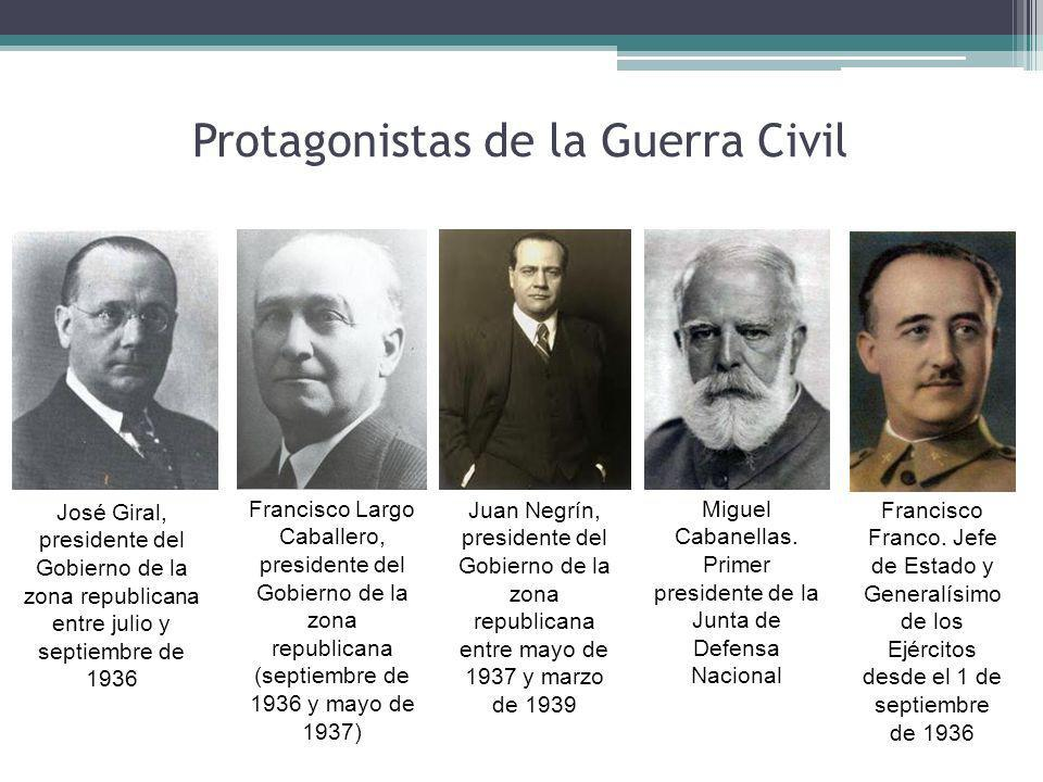 Protagonistas de la Guerra Civil José Giral, presidente del Gobierno de la zona republicana entre julio y septiembre de 1936 Francisco Largo Caballero