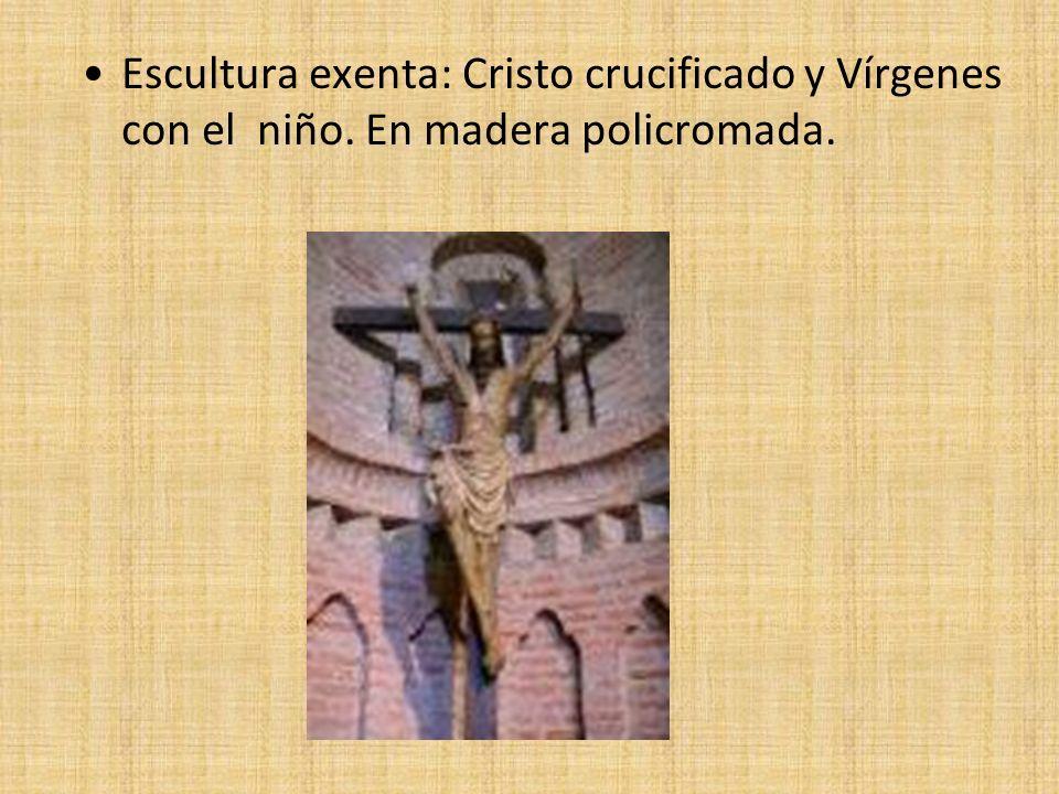 Escultura exenta: Cristo crucificado y Vírgenes con el niño. En madera policromada.