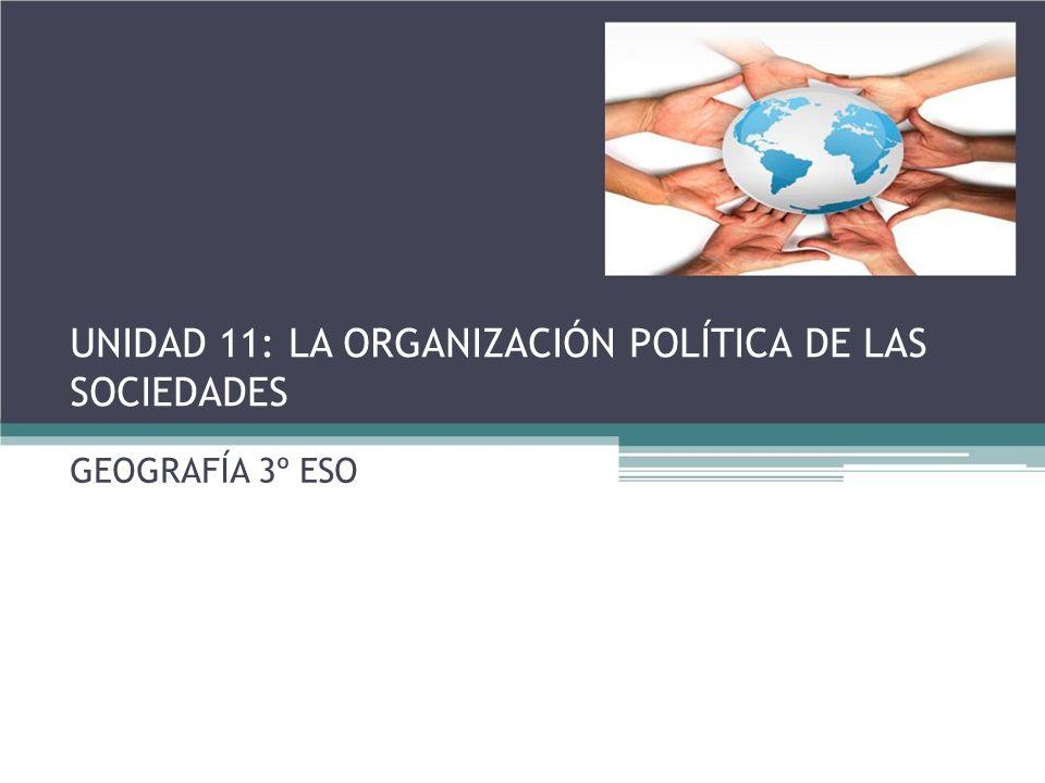 UNIDAD 11: LA ORGANIZACIÓN POLÍTICA DE LAS SOCIEDADES GEOGRAFÍA 3º ESO
