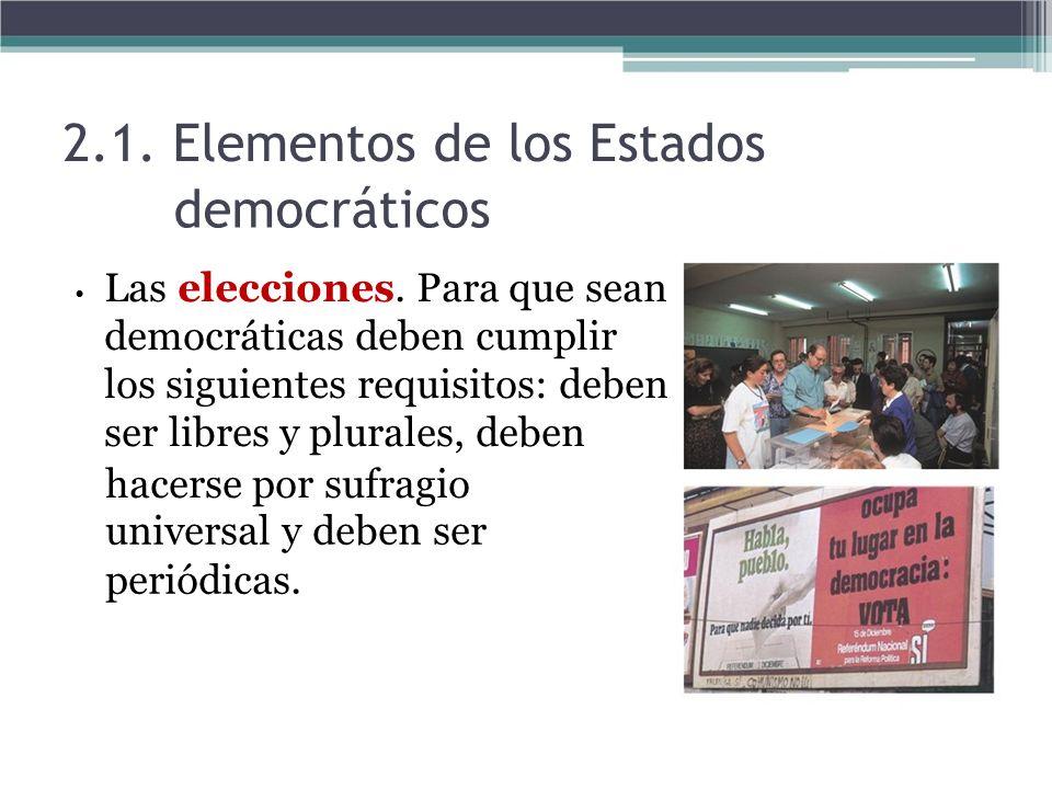 2.1. Elementos de los Estados democráticos Las elecciones. Para que sean democráticas deben cumplir los siguientes requisitos: deben ser libres y plur