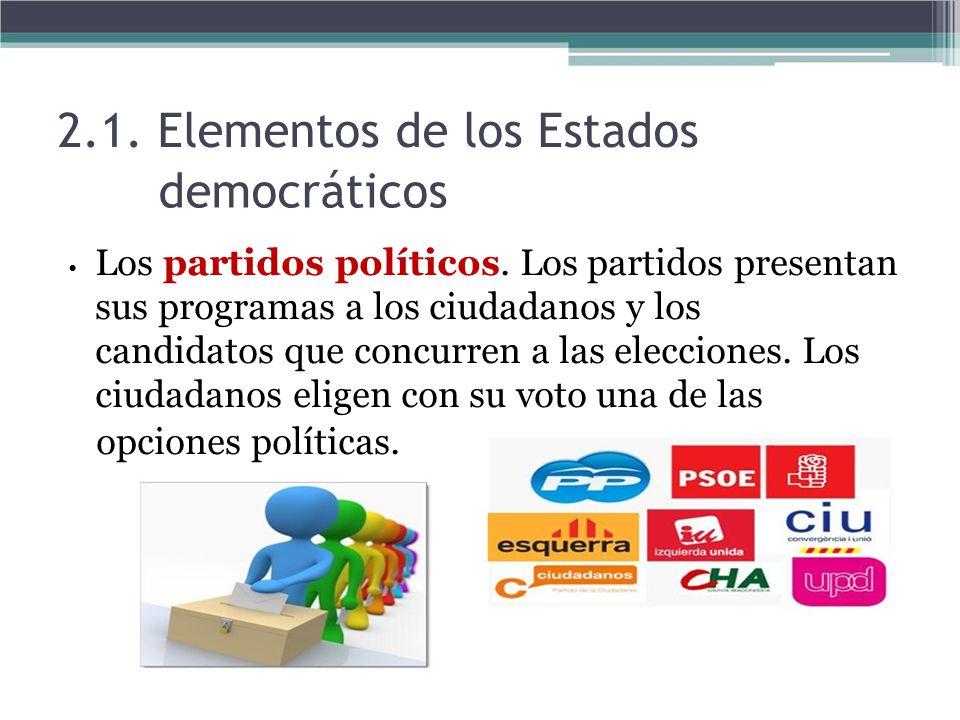 2.1. Elementos de los Estados democráticos Los partidos políticos. Los partidos presentan sus programas a los ciudadanos y los candidatos que concurre