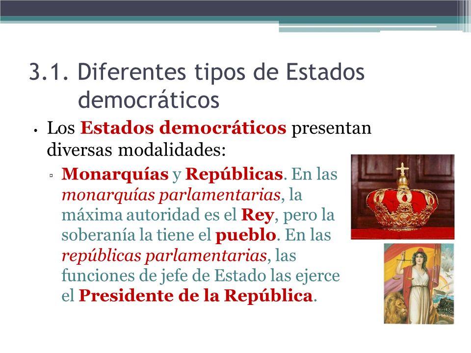 3.1. Diferentes tipos de Estados democráticos Los Estados democráticos presentan diversas modalidades: Monarquías y Repúblicas. En las monarquías parl