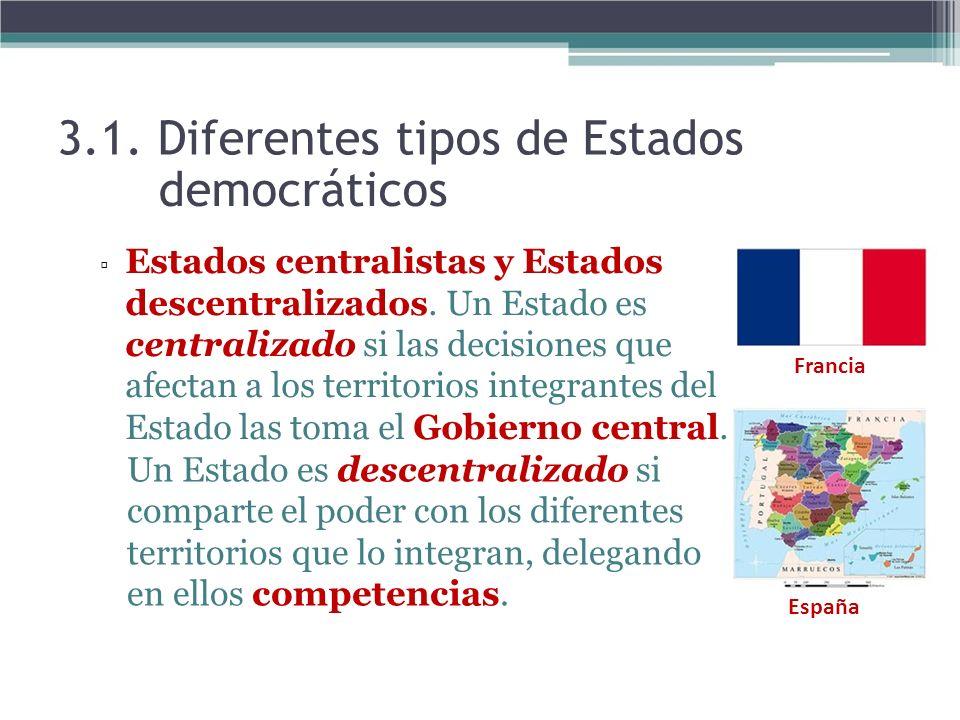 3.1. Diferentes tipos de Estados democráticos Estados centralistas y Estados descentralizados. Un Estado es centralizado si las decisiones que afectan
