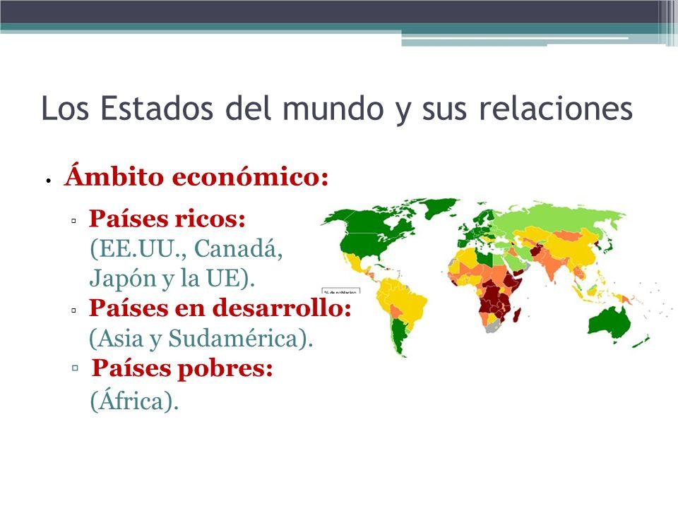Los Estados del mundo y sus relaciones Ámbito económico: Países ricos: (EE.UU., Canadá, Japón y la UE). Países en desarrollo: (Asia y Sudamérica). Paí