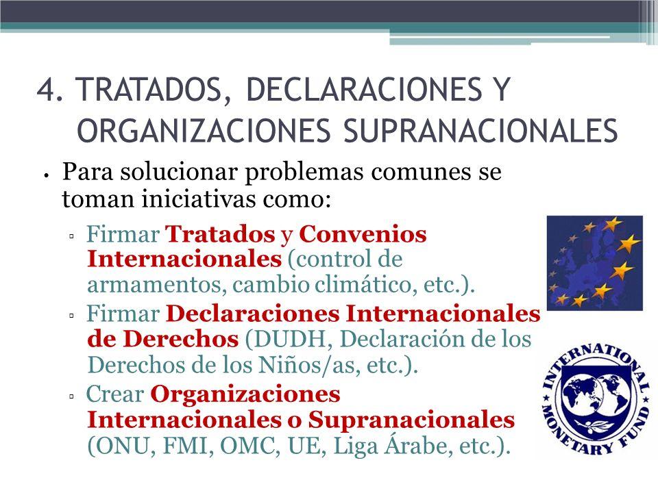 4. TRATADOS, DECLARACIONES Y ORGANIZACIONES SUPRANACIONALES Para solucionar problemas comunes se toman iniciativas como: Firmar Tratados y Convenios I