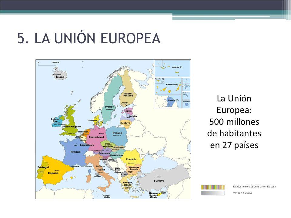 La Unión Europea: 500 millones de habitantes en 27 países Estados miembros de la Unión Europea Países candidatos 5. LA UNIÓN EUROPEA