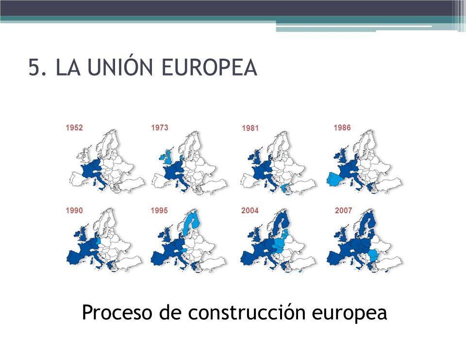 Proceso de construcción europea 19521973 1981 1986 1990199520042007 5. LA UNIÓN EUROPEA