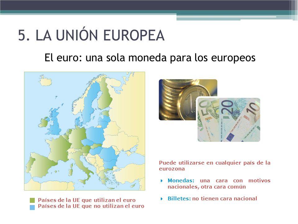 El euro: una sola moneda para los europeos Países de la UE que utilizan el euro Países de la UE que no utilizan el euro Puede utilizarse en cualquier