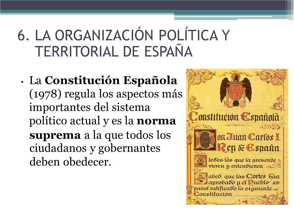 La Constitución Española (1978) regula los aspectos más importantes del sistema político actual y es la norma suprema a la que todos los ciudadanos y