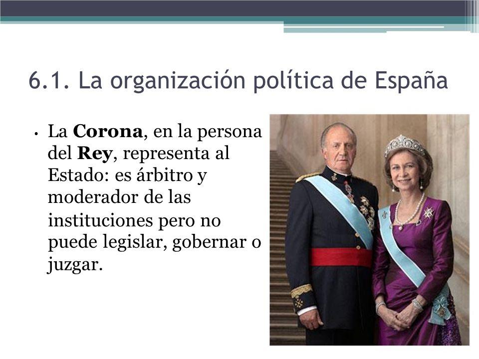 La Corona, en la persona del Rey, representa al Estado: es árbitro y moderador de las instituciones pero no puede legislar, gobernar o juzgar. 6.1. La