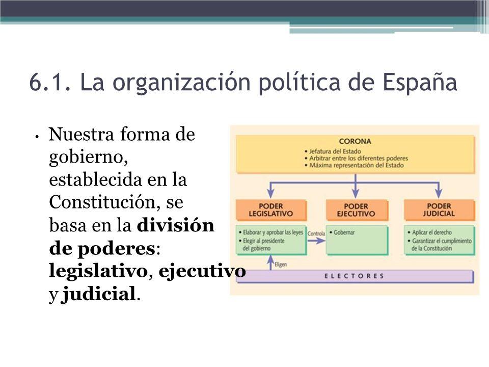 Nuestra forma de gobierno, establecida en la Constitución, se basa en la división de poderes: legislativo, ejecutivo y judicial. 6.1. La organización