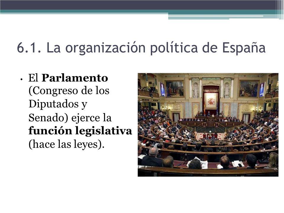 El Parlamento (Congreso de los Diputados y Senado) ejerce la función legislativa (hace las leyes). 6.1. La organización política de España