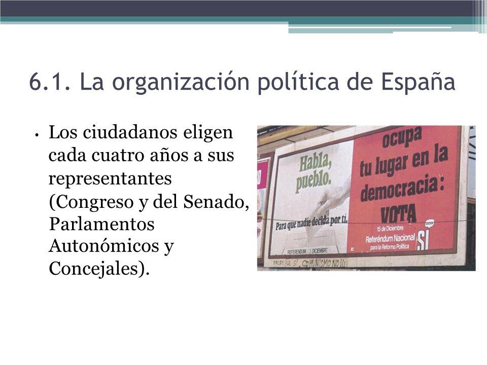 Los ciudadanos eligen cada cuatro años a sus representantes (Congreso y del Senado, Parlamentos Autonómicos y Concejales). 6.1. La organización políti