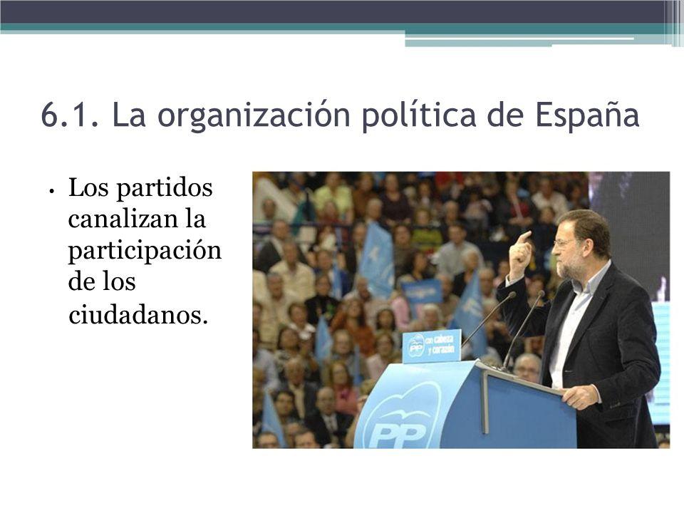 Los partidos canalizan la participación de los ciudadanos. 6.1. La organización política de España
