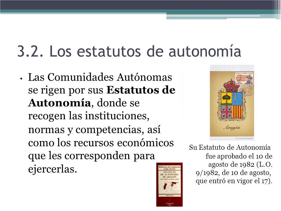 3.2. Los estatutos de autonomía Las Comunidades Autónomas se rigen por sus Estatutos de Autonomía, donde se recogen las instituciones, normas y compet