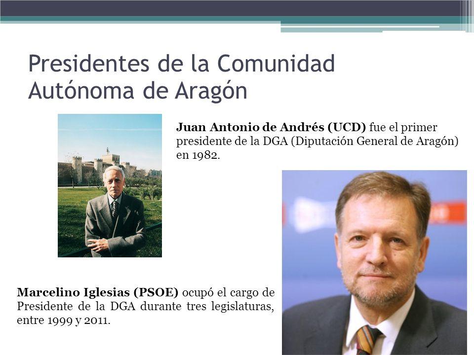 Presidentes de la Comunidad Autónoma de Aragón Juan Antonio de Andrés (UCD) fue el primer presidente de la DGA (Diputación General de Aragón) en 1982.