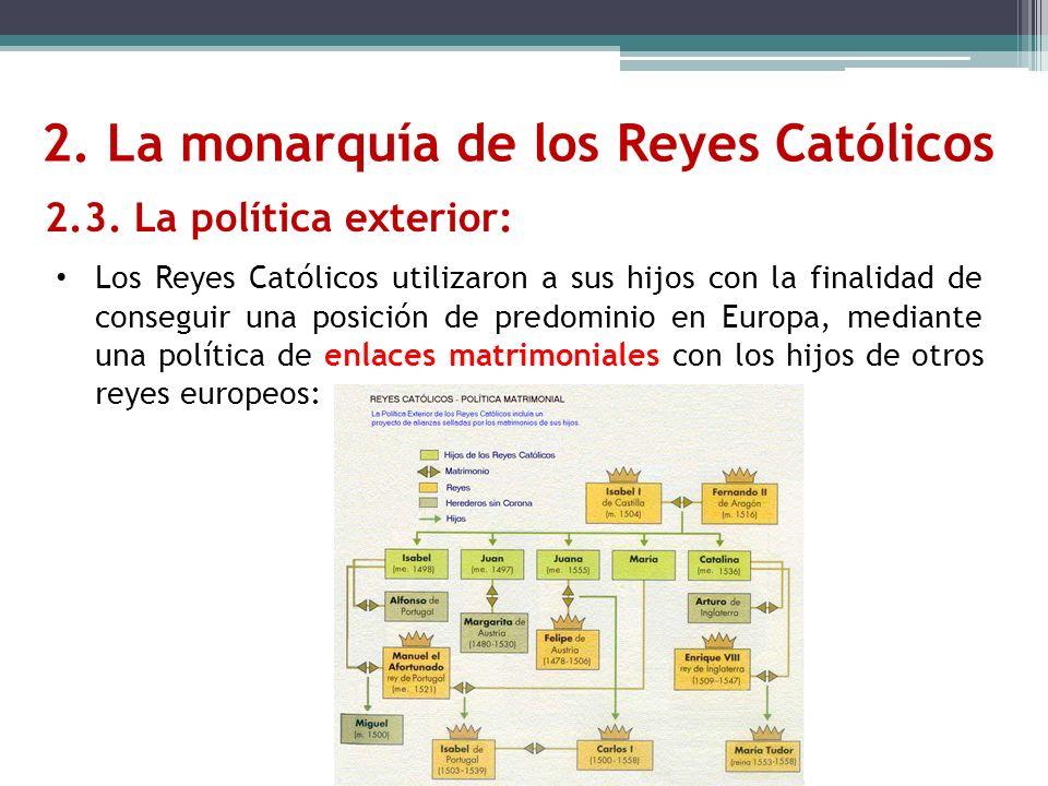 2. La monarquía de los Reyes Católicos 2.3. La política exterior: Los Reyes Católicos utilizaron a sus hijos con la finalidad de conseguir una posició