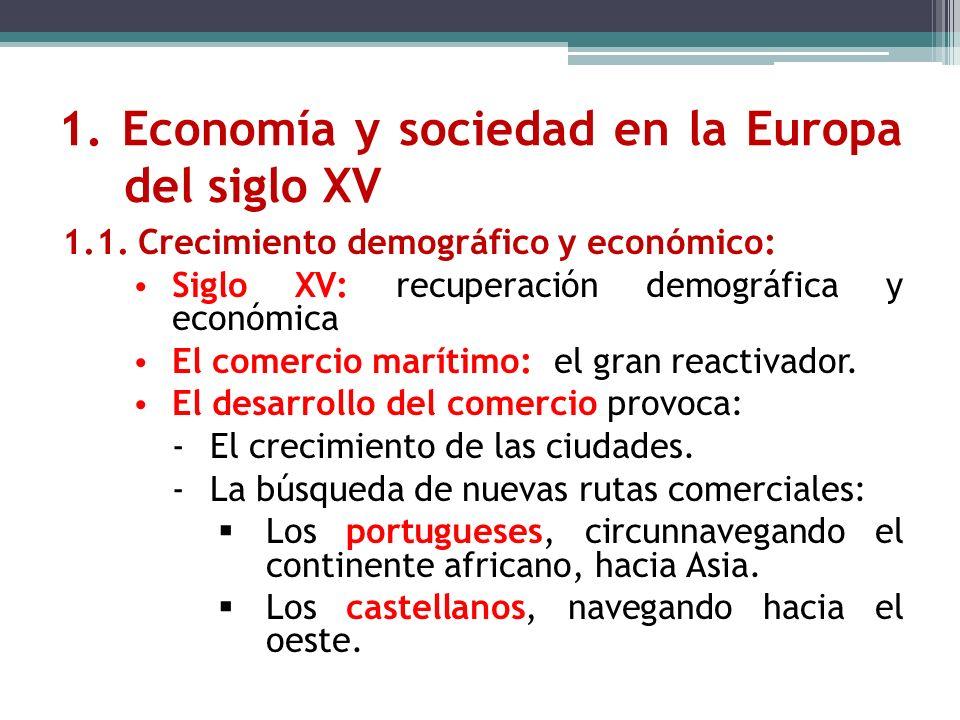 1. Economía y sociedad en la Europa del siglo XV 1.1. Crecimiento demográfico y económico: Siglo XV: recuperación demográfica y económica El comercio