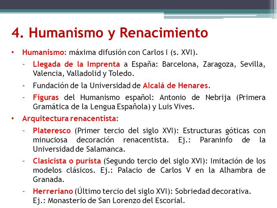 Humanismo: máxima difusión con Carlos I (s. XVI). -Llegada de la Imprenta a España: Barcelona, Zaragoza, Sevilla, Valencia, Valladolid y Toledo. -Fund