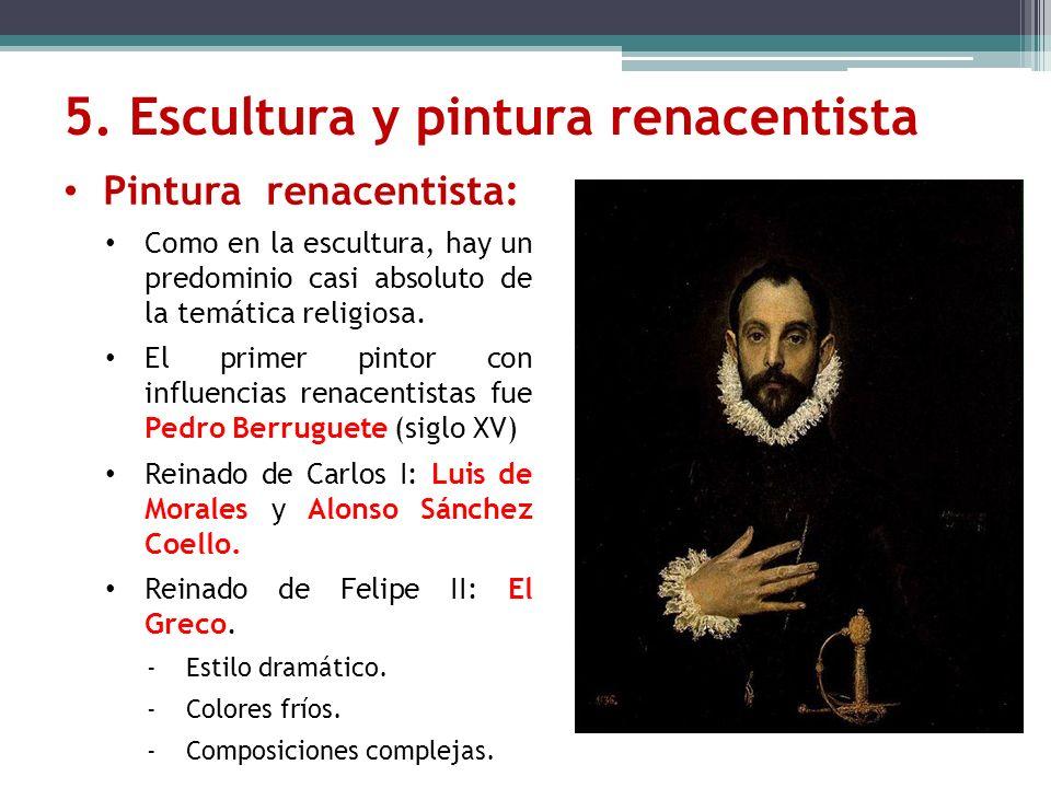 Pintura renacentista: Como en la escultura, hay un predominio casi absoluto de la temática religiosa. El primer pintor con influencias renacentistas f