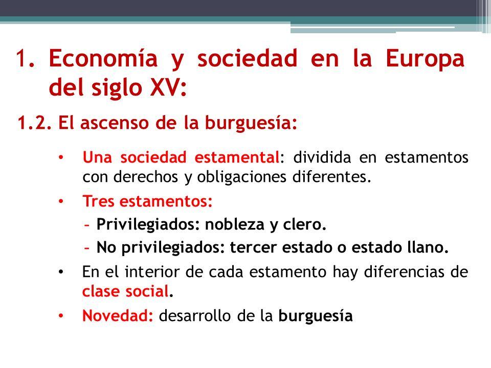 1.Economía y sociedad en la Europa del siglo XV: 1.2. El ascenso de la burguesía: Una sociedad estamental: dividida en estamentos con derechos y oblig
