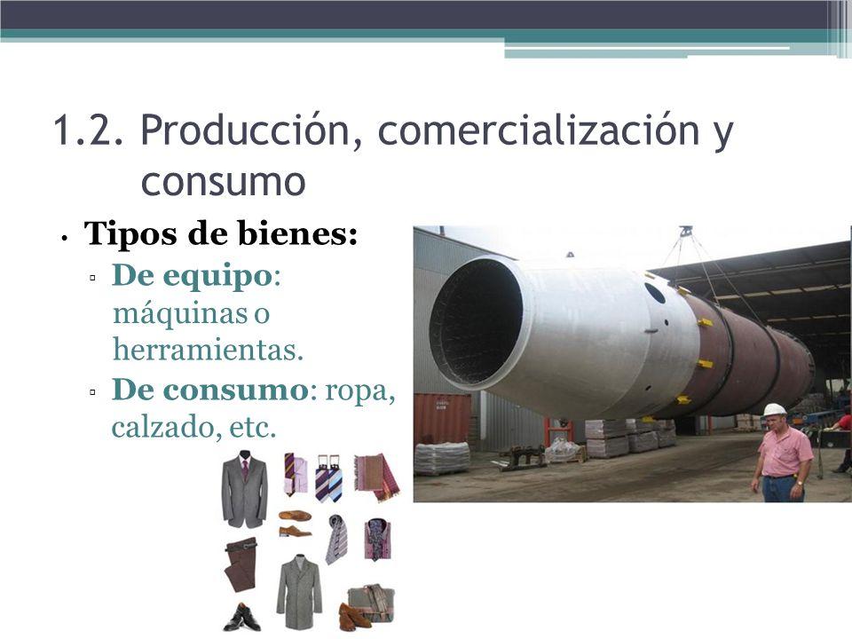 1.2. Producción, comercialización y consumo Tipos de bienes: De equipo: máquinas o herramientas. De consumo: ropa, calzado, etc.