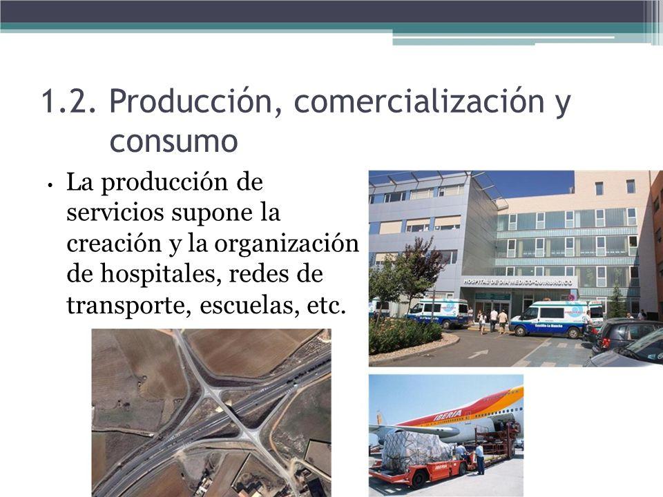 1.2. Producción, comercialización y consumo La producción de servicios supone la creación y la organización de hospitales, redes de transporte, escuel