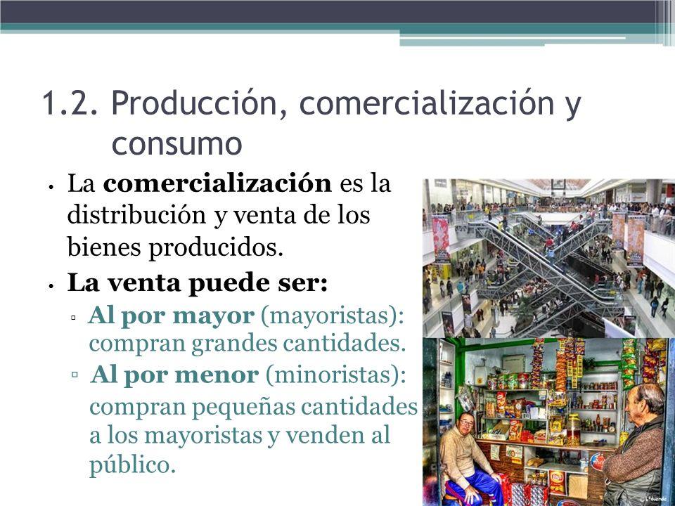 1.2. Producción, comercialización y consumo La comercialización es la distribución y venta de los bienes producidos. La venta puede ser: Al por mayor
