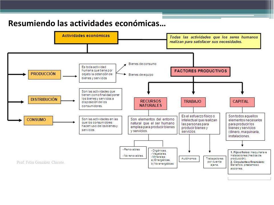 Resumiendo las actividades económicas…