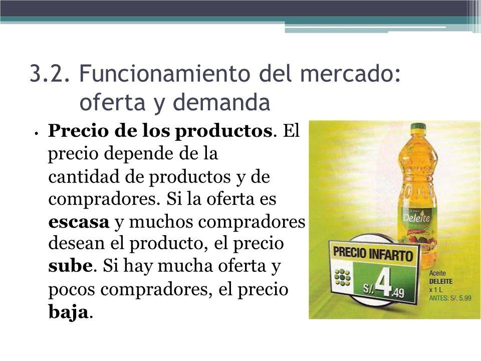 3.2. Funcionamiento del mercado: oferta y demanda Precio de los productos. El precio depende de la cantidad de productos y de compradores. Si la ofert