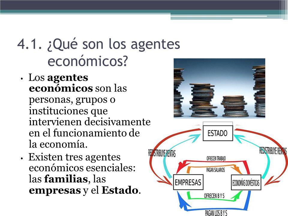 4.1. ¿Qué son los agentes económicos? Los agentes económicos son las personas, grupos o instituciones que intervienen decisivamente en el funcionamien