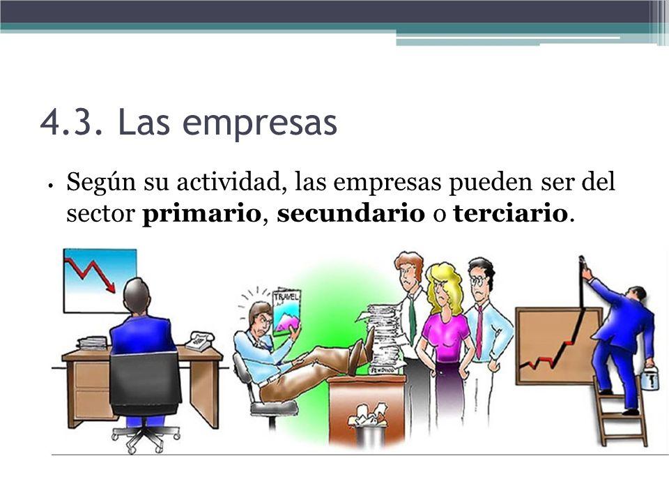 4.3. Las empresas Según su actividad, las empresas pueden ser del sector primario, secundario o terciario.