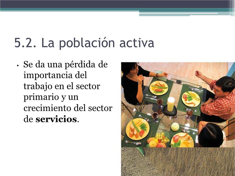 5.2. La población activa Se da una pérdida de importancia del trabajo en el sector primario y un crecimiento del sector de servicios.