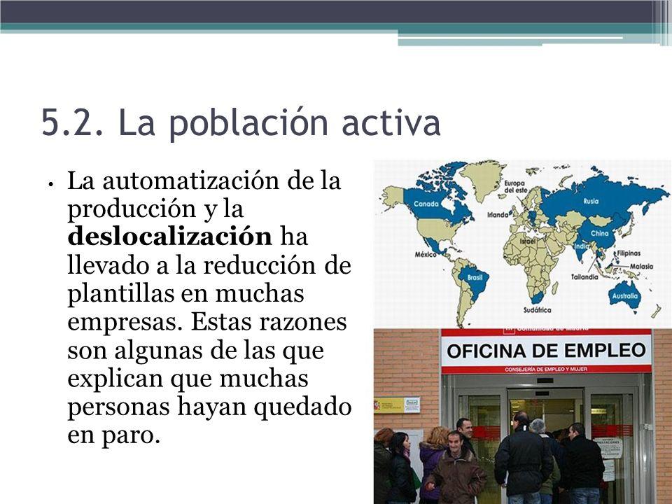 5.2. La población activa La automatización de la producción y la deslocalización ha llevado a la reducción de plantillas en muchas empresas. Estas raz