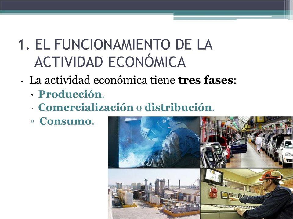 1. EL FUNCIONAMIENTO DE LA ACTIVIDAD ECONÓMICA La actividad económica tiene tres fases: Producción. Comercialización o distribución. Consumo.