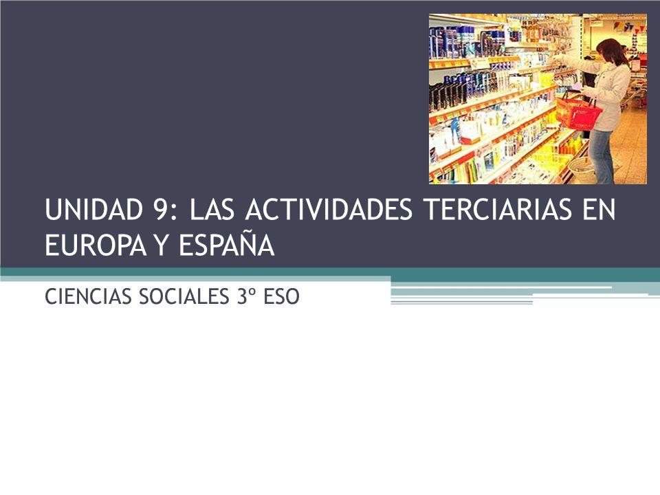 UNIDAD 9: LAS ACTIVIDADES TERCIARIAS EN EUROPA Y ESPAÑA CIENCIAS SOCIALES 3º ESO