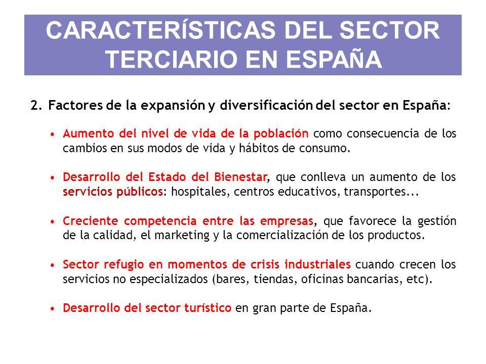 CARACTER Í STICAS DEL SECTOR TERCIARIO EN ESPA Ñ A 2.Factores de la expansión y diversificación del sector en España: Aumento del nivel de vida de la