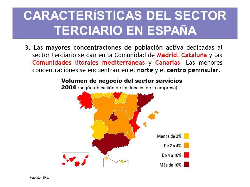 CARACTER Í STICAS DEL SECTOR TERCIARIO EN ESPA Ñ A 3. Las mayores concentraciones de población activa dedicadas al sector terciario se dan en la Comun