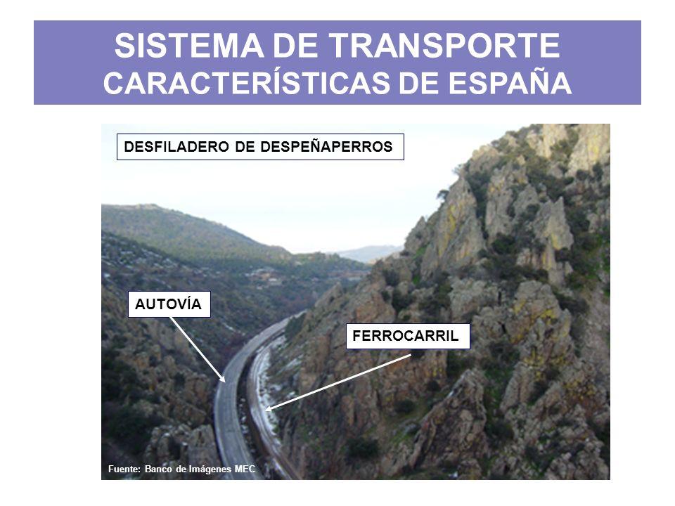 SISTEMA DE TRANSPORTE CARACTERÍSTICAS DE ESPAÑA b)Red terrestre y aérea radial: Las redes de carreteras y ferrocarriles tienen su centro en Madrid, con lo que todo el tráfico discurre en forma de radios atravesando la capital.