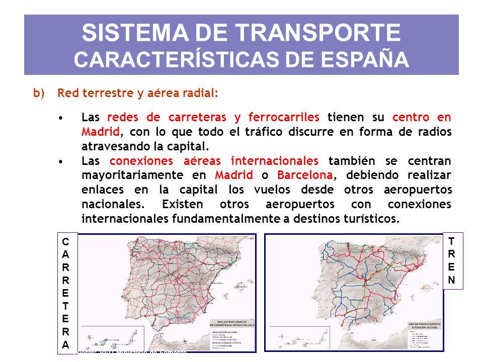 SISTEMA DE TRANSPORTE CARACTERÍSTICAS DE ESPAÑA b)Red terrestre y aérea radial: Las redes de carreteras y ferrocarriles tienen su centro en Madrid, co
