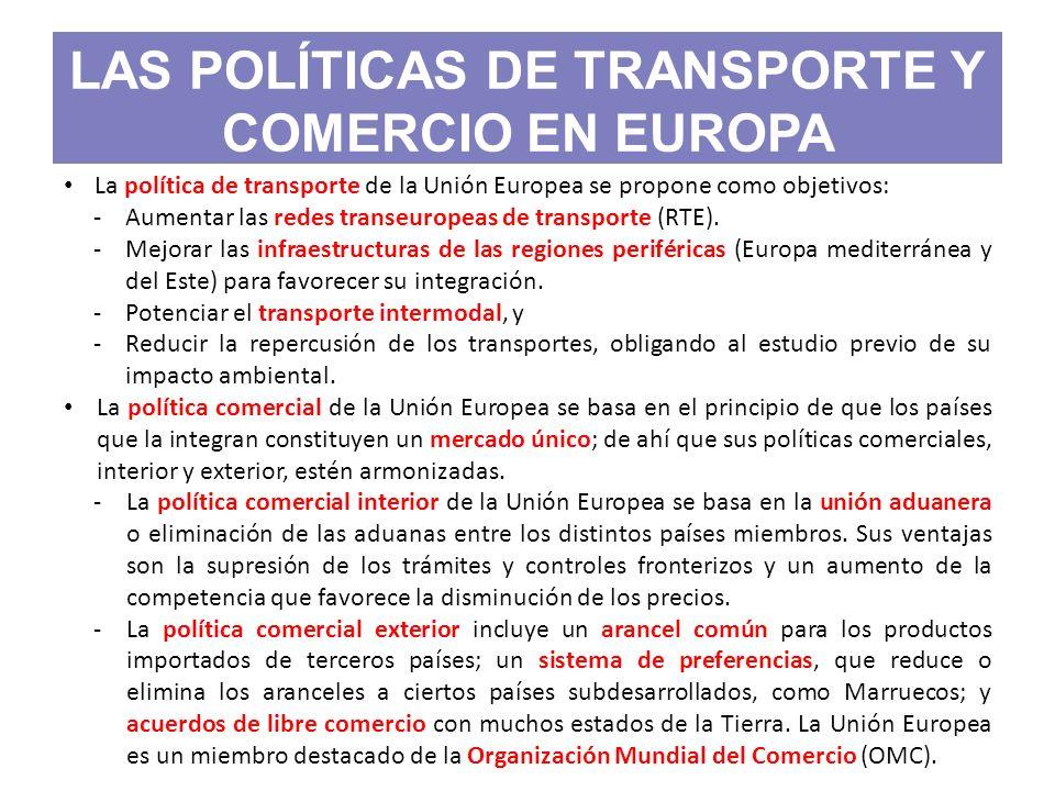 LAS POLÍTICAS DE TRANSPORTE Y COMERCIO EN EUROPA La política de transporte de la Unión Europea se propone como objetivos: -Aumentar las redes transeur
