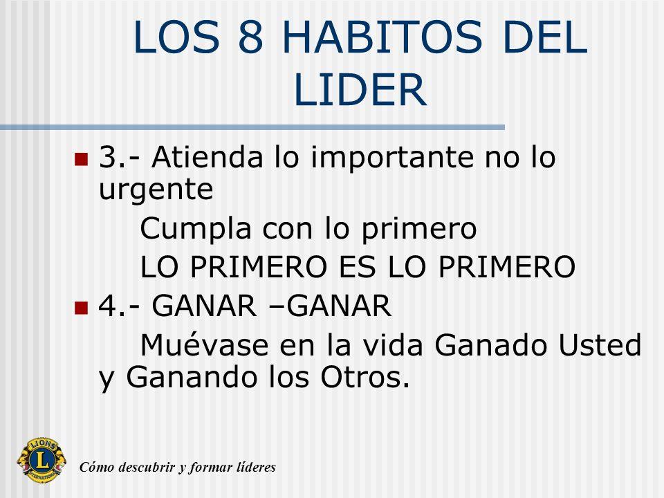 Cómo descubrir y formar líderes LOS 8 HABITOS DEL LIDER 3.- Atienda lo importante no lo urgente Cumpla con lo primero LO PRIMERO ES LO PRIMERO 4.- GAN