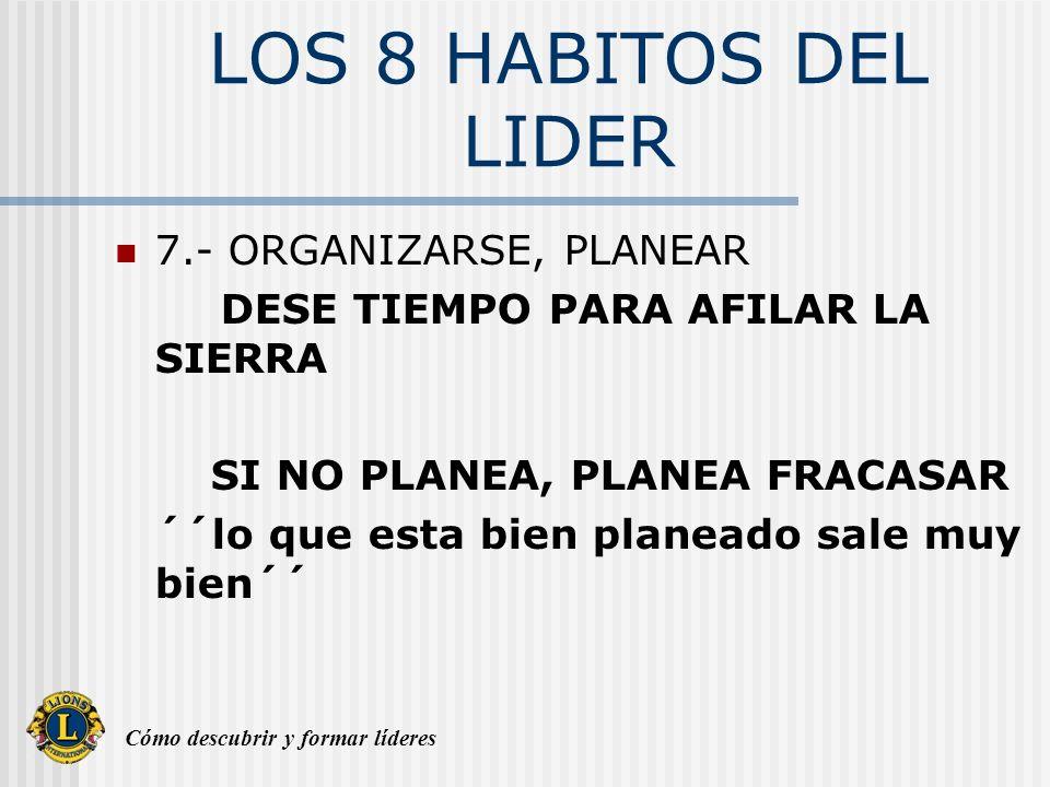 Cómo descubrir y formar líderes LOS 8 HABITOS DEL LIDER 7.- ORGANIZARSE, PLANEAR DESE TIEMPO PARA AFILAR LA SIERRA SI NO PLANEA, PLANEA FRACASAR ´´lo
