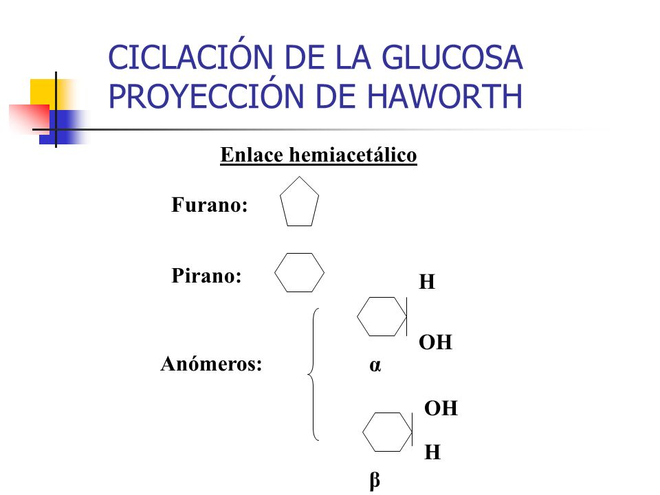 1 5 5 1 1 5 1 5 CICLACIÓN DE LA GLUCOSA αGlucosa βGlucosa