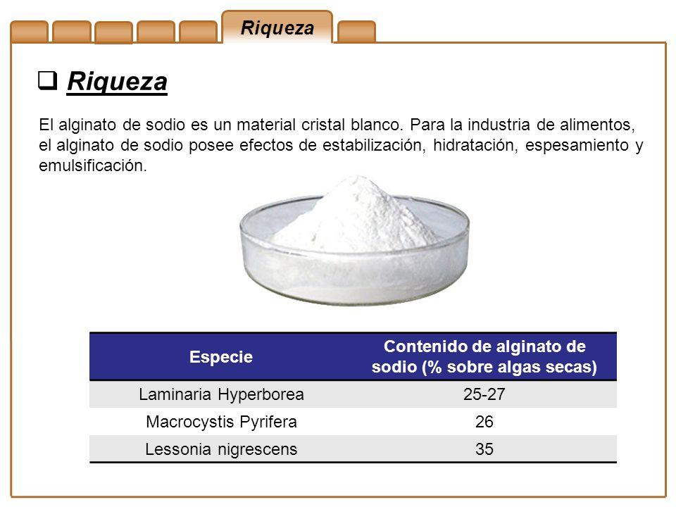 Riqueza El alginato de sodio es un material cristal blanco. Para la industria de alimentos, el alginato de sodio posee efectos de estabilización, hidr