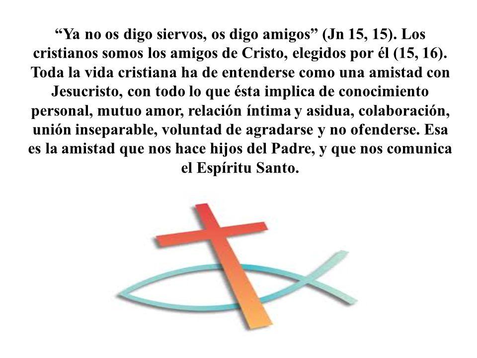 Ya no os digo siervos, os digo amigos (Jn 15, 15). Los cristianos somos los amigos de Cristo, elegidos por él (15, 16). Toda la vida cristiana ha de e