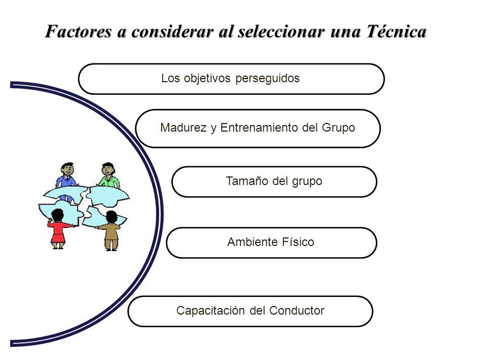 Factores a considerar al seleccionar una Técnica Capacitación del Conductor Ambiente Físico Tamaño del grupo Los objetivos perseguidos Madurez y Entre