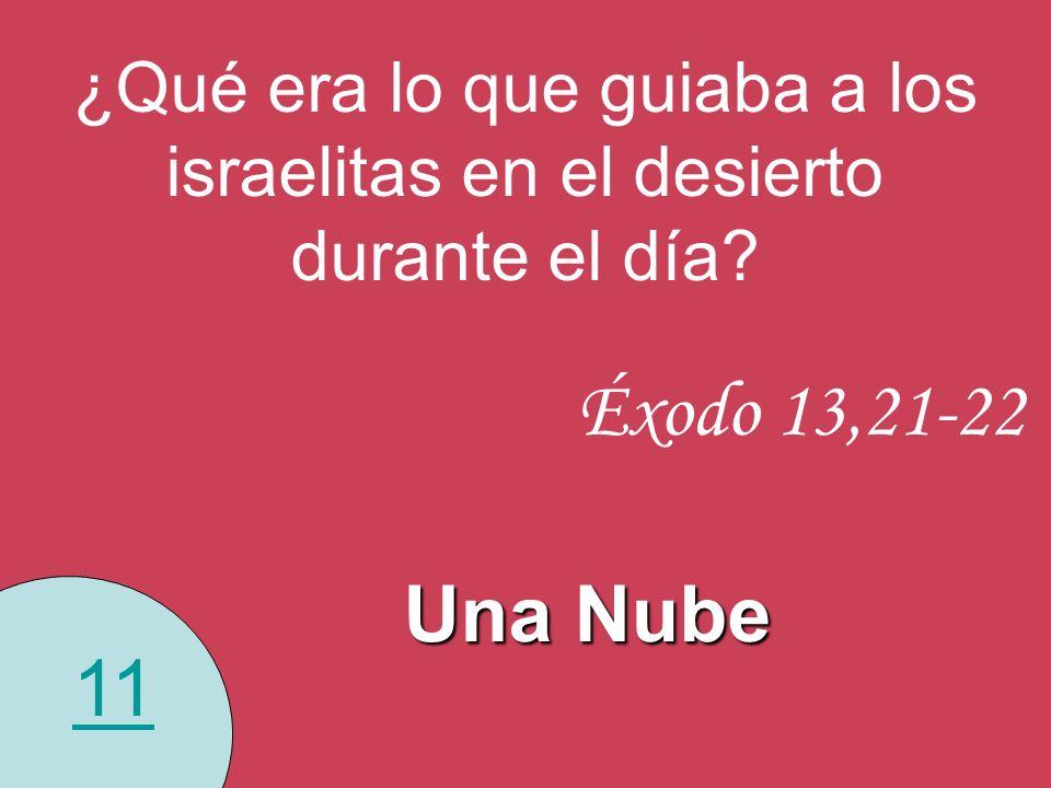 11 ¿Qué era lo que guiaba a los israelitas en el desierto durante el día? Éxodo 13,21-22 Una Nube