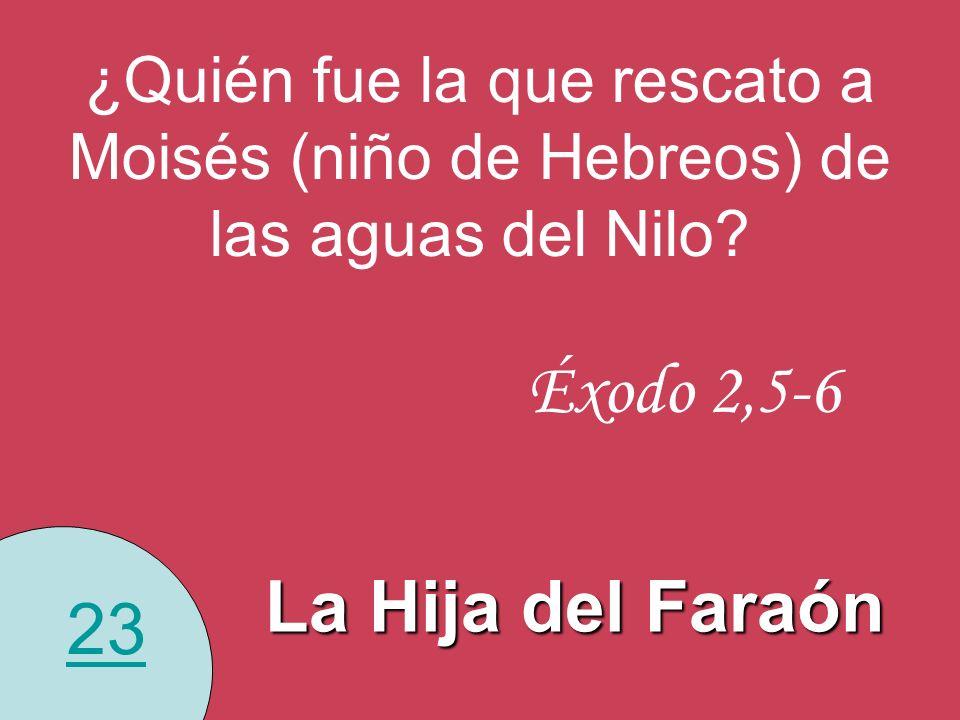 23 ¿Quién fue la que rescato a Moisés (niño de Hebreos) de las aguas del Nilo? La Hija del Faraón Éxodo 2,5-6